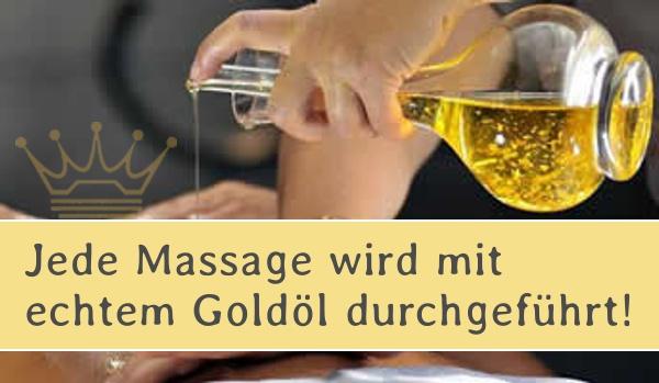 VIP Massage Goldöl Königinnenmassage - Jede Massage wird mit echtem Goldöl durchgeführt