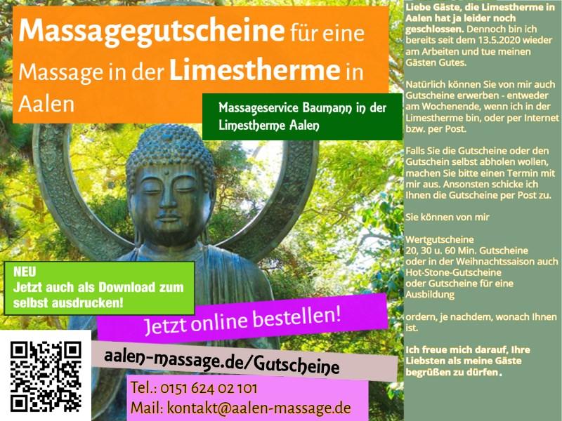 Massagegutscheine für die Limestherme online und zum Ausdrucken